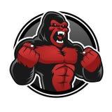 Gniewny duży goryl Czerwony gorilla ilustracja wektor