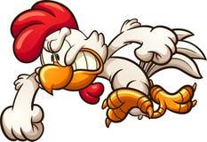 Gniewny działający kreskówka kurczak royalty ilustracja