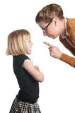 gniewny dziecko wykłada nauczyciela Fotografia Royalty Free