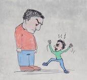 Gniewny emplyee versus szef ilustracji