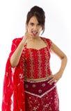 Gniewny Indiański młodej kobiety łajanie somebody Obrazy Stock