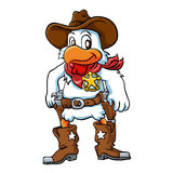 Gniewny kowbojski kurczak ilustracja wektor