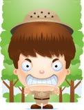 Gniewny kreskówki chłopiec badacz royalty ilustracja