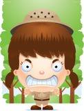 Gniewny kreskówki dziewczyny badacz ilustracji
