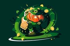 Gniewny leprechaun z złotem Zdjęcia Royalty Free