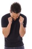 Gniewny mężczyzna na bielu Fotografia Stock