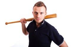 Gniewny mężczyzna ręki mienia kij bejsbolowy odizolowywający na bielu Zdjęcia Royalty Free