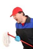 Gniewny mężczyzna w workwear z kwaczem zdjęcie stock