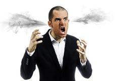 Gniewny mężczyzna wybuchający zdjęcie stock