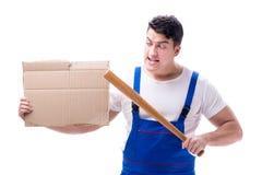 Gniewny mężczyzna z kijem bejsbolowym trzyma forum dyskusyjnego na białym bac Zdjęcia Stock