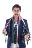 Gniewny mężczyzna z udziałem krawaty wokoło jego szyi Obraz Stock