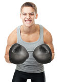 Gniewny młody bokser Obraz Stock
