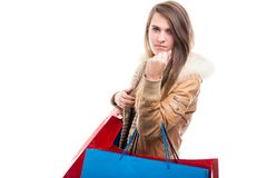 Gniewny młody kupujący pokazuje jej pięść Zdjęcia Royalty Free