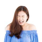 Gniewny młody przypadkowy kobieta portret Obrazy Stock