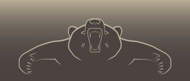 Gniewny niedźwiadkowy ilustracyjny logo Zdjęcia Royalty Free