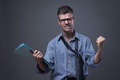 Gniewny nieporządny biznesmen Zdjęcia Stock