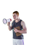 Gniewny osobisty trener wrzeszczy przez megafonu Zdjęcie Stock