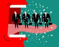 Gniewny szef łaja podwładnych naczelny target2100_0_ pracowników czerwone Obraz Stock