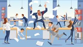 Gniewny szefa krzyk w chaosu biurze przez niepowodzenie ostatecznego terminu Zaakcentowani wektorowi postać z kreskówki ilustracji