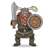 Gniewny Viking stojak z kordzikiem i osłoną Zdjęcie Stock