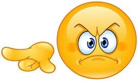Gniewny wskazujący out emoticon royalty ilustracja