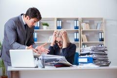 Gniewny zagniewany szef wrzeszczy i krzyczy przy jego sekretarka pracownikiem zdjęcie stock