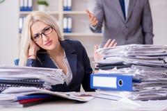 Gniewny zagniewany szef wrzeszczy i krzyczy przy jego sekretarka pracownikiem zdjęcia stock