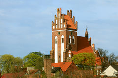 Gniewu miasteczko z teutonic kasztelem przy Wierzyca rzeką, Polska Zdjęcia Stock