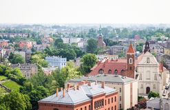 Gniezno, Poland - View for city panorama at Gniezno. Gniezno, Poland - panoramic view of Gniezno, the first capital of Poland stock images
