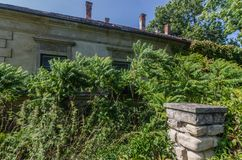 gnijący budynek i ogród zdjęcia royalty free