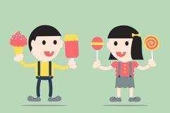 Gnijący ząb cukierkami i lody ilustracji