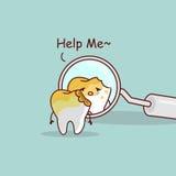 Gnijący ząb z dentysty lustrem royalty ilustracja
