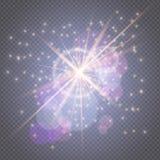 Gnistor blänker att glöda - stjärnan brast glöd med linssignalljuset som isolerades på den genomskinliga bakgrunden Garneringar f royaltyfri illustrationer