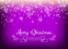 Gnistrande för stjärna för etikett för blad för nytt år för glad jul Royaltyfri Foto