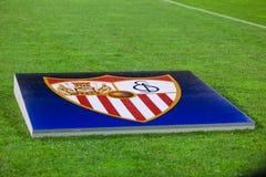 GNK Dinamo Zagreb VS FC Sevilla Sevilla& x27; s sztandar na smole Zdjęcia Stock