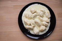 Gnocchi στη σάλτσα κρέμας στοκ φωτογραφίες