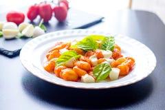 Gnocchi в томатном соусе с зелеными свежими шариками базилика и моццареллы служил на плите итальянский рецепт стоковая фотография rf