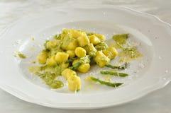 Gnocchi with asparagus, fresh italian pasta Stock Photo