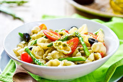 Gnocchi with Asparagus salad in Pesto dressing Royalty Free Stock Photo