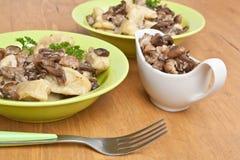 Gnocchi avec la sauce aux champignons sauvage Photographie stock