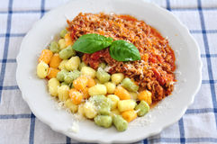 Gnocchi with bolognese sauce Stock Photo
