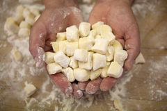 Gnocchi. A Chef holds uncooked gnocchi in his two hands royalty free stock photography