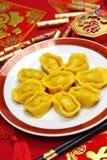 Gnocchi cinesi casalinghi del lingotto dell'oro Fotografie Stock Libere da Diritti
