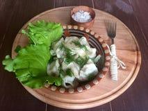 Gnocchi con insalata verde Fotografia Stock Libera da Diritti