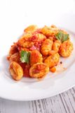 Gnocchi. Cooked with tomato sauce stock photos