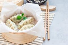 Gnocchi coreani cotti a vapore Mandu con carne di pollo e le verdure in vapore di bambù, orizzontale, spazio della copia Fotografie Stock