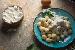 Gnocchi crudo, italiano típico hechos de plato de la patata, de la harina y del huevo Imagen de archivo