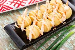 Gnocchi de la patata con los camarones Foto de archivo libre de regalías