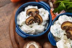 Gnocchi della carne - il Russo ha bollito il pelmeni in piatto Immagine Stock Libera da Diritti