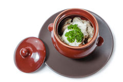 Gnocchi e funghi della carne con panna acida Immagine Stock
